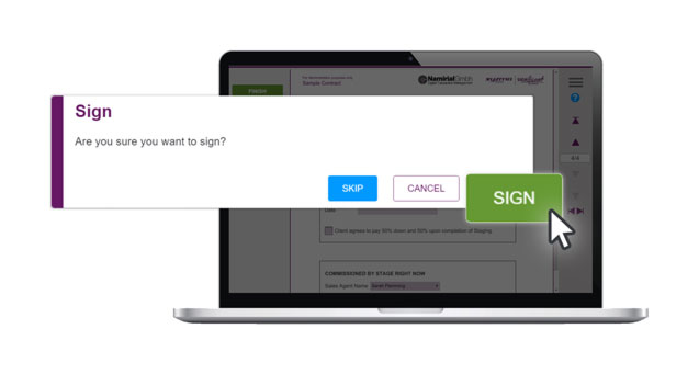 Feature, easy to sign, signing button